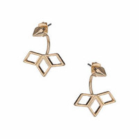 Spike Front To Back Earrings - Gold