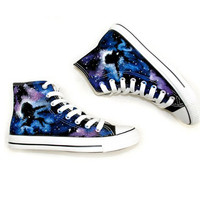 Hand Drawing Starry Sky Canvas High Shoes For Lovers