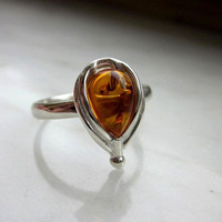 925 sterling silver honey baltic amber ring genuine baltic honey amber ring amber jewelry sterling baltic amber semiprecious gemstone rings
