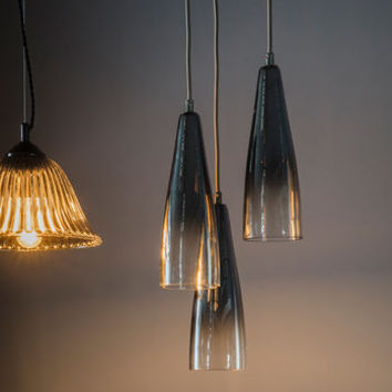 Three Glass Ombre Conical Lights