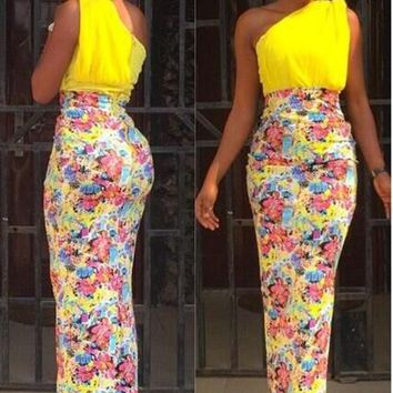 Yellow Patchwork Off Shoulder Bohemian Floral Print Sleeveless Fashion Bridesmaid Maxi Dress