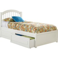 Windsor Full Bed Flat Panel Footboard Flat Panel Under Bed Drawers White Finish
