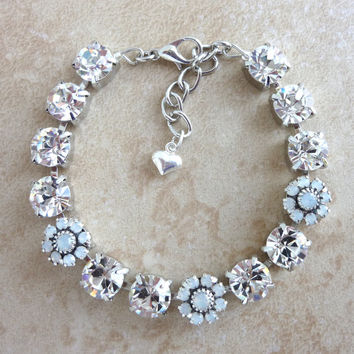 Swarovski crystal bracelet, crystal and opal, bridal, better than sabika