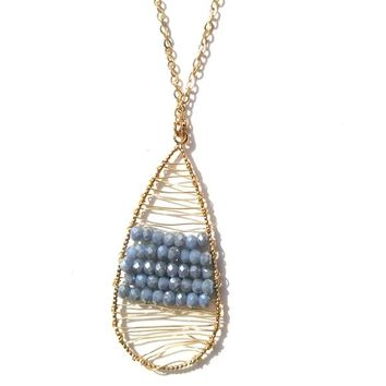 USA Dorothy Gold Blue Wire Wrap Necklace