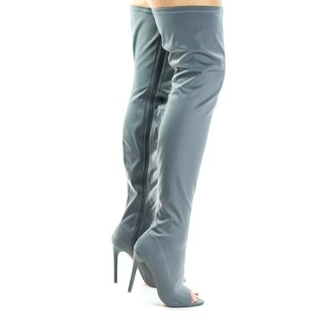Connely8a Gray By Liliana, Peep Toe High Stiletto Heel, Over Knee, Thigh High Dress Boots