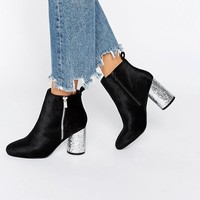 River Island Glitter Circle Heeled Ankle Boot at asos.com