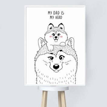 Husky Dog Wall Art Canvas Painting Nordic Minimalism Posters And Prints Baby Boy Canvas Art Kids Bedroom Nordic Decoration Home