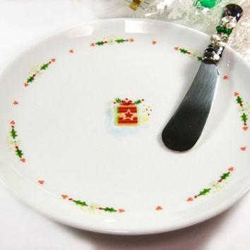 Porcelain Appetizer Plate with Christmas Present, Beaded Dip Spreader