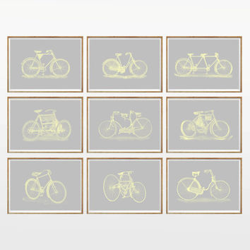 Gray and Yellow Bicycle Art Print SET of 9. UNFRAMED. A4. bike prints, bicycle wall art, bicycle poster, Kids Room, Living Room, Bedroom Art