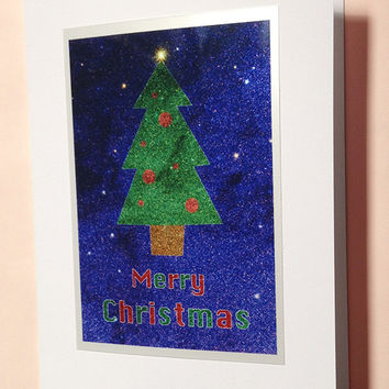 Faux Glitter Christmas Card, Blank Abstract Sparkle Xmas Tree Greeting Card