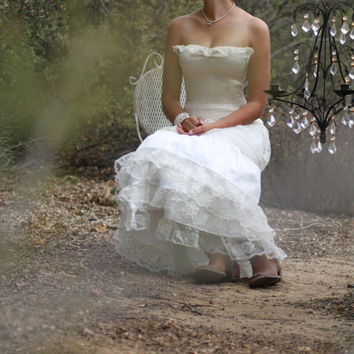 a Love for Champagne / Wedding Gown Skirt / Silk /Cowgirl // Rustic Country / Lace // Ruffles // Champagne and White / Ready to ship // OOAK