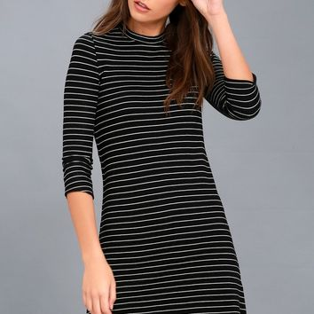 Cool Horizons Black and White Striped Long Sleeve Dress