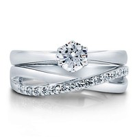 Cubic Zirconia CZ Sterling Silver 2-Pc Woven Bridal Ring Set 0.46 Ct #r633-2