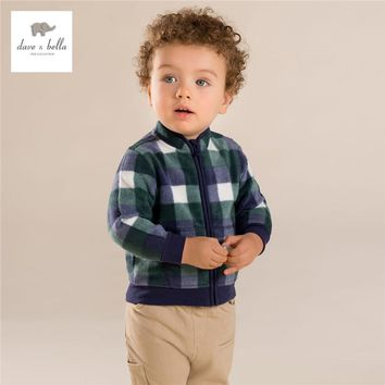 DB396-B davebella autumn baby boys green grid outerwear baby plaid grid coat babi striped outerwear baby clothes