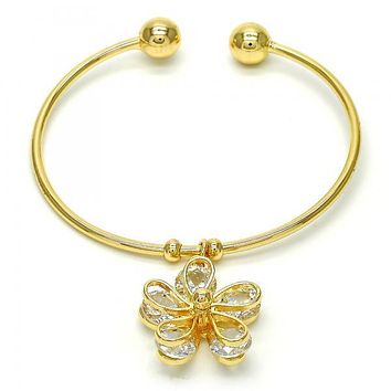 Gold Layered 07.63.0186 Individual Bangle, Flower Design, with White Cubic Zirconia, Polished Finish, Golden Tone (02 MM Thickness, One size fits all)