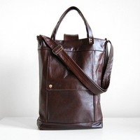 Briefcase in Java Brown Leather  LAST ONE  Made to by jennyndesign