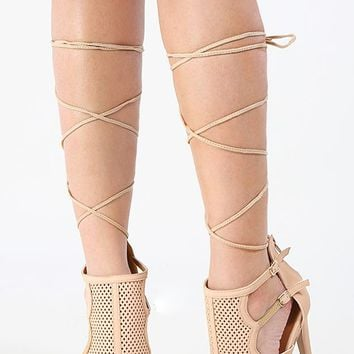 Qupid Interest-125x Lace Up Mesh Booties