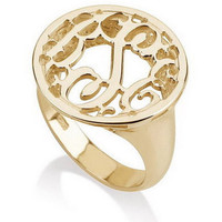 Circle Monogram Ring -  18k Gold Dipped .925 Sterling Silver