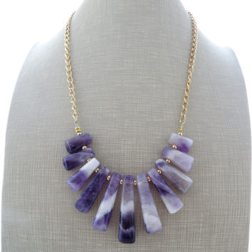 Amethyst necklace, purple statement necklace, uk gemstone jewelry, semi precious stone jewellery, raw stone jewelry, italian jewels