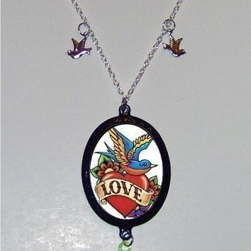 Retro Love Vintage Swallows Heart Tattoo Pendant  Necklace with Swallow Charms and Italian Glass Cherry Sailor Jerry Like Birds Valentine