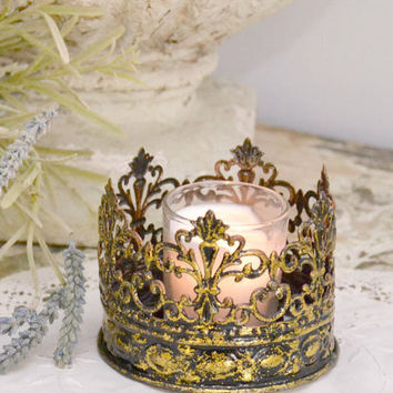 French Style Metal Gold Crown Candle Holder - Small - $12 - The Bella Cottage