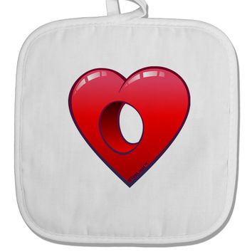 Hole Heartedly Broken Heart White Fabric Pot Holder Hot Pad by TooLoud