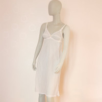 White Vintage Slip, Soviet Lingerie, Vintage Night Gown, Small Size