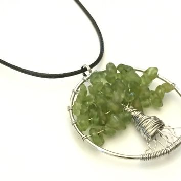 Tree of Life Necklace, Tree of Life Pendant, Tree of Knowledge, Peridot Stone Pendant, Gift Necklace