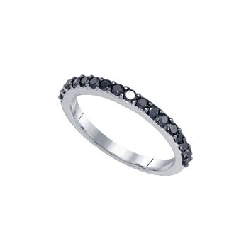 10kt White Gold Womens Round Black Colored Diamond Band Ring 1/2 Cttw 83292