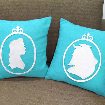 Special Wedding Gift. Beauty And The Beast Silhouettes Cameo Turquoise Pillow Covers Set Cushion Cover Set. Girls Room Decorative Pillow