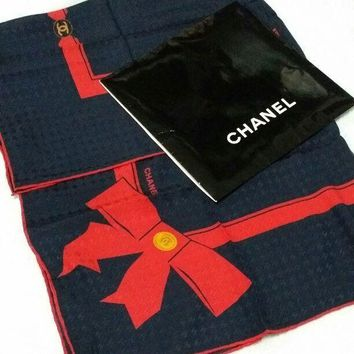 CHANEL Scarf Scarves Silk 100% Red Ribbon Print Women Luxury Auth New Rare 33""