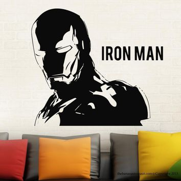 Free Shipping Removable IRONMAN Hero Wall Decal Modern Home Wall Sticker Decal Vinyl GW-40