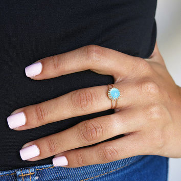 pacific opal ring, gold ring, rings, band ring, stack ring, dainty delicate ring, cocktail ring, bridesmaid gift, wedding jewelry