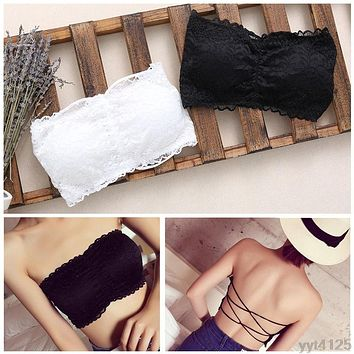 3f46b9161d Women Strapless Lace Camisole Backless Bra Bandeau Slim Sexy Tub