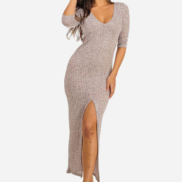 RIBBED KNIT V NECK MAXI DRESS WITH FRONT SLIT (BROWN)
