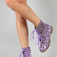 Riley-3A Leopard Round Toe Lace Up Bootie
