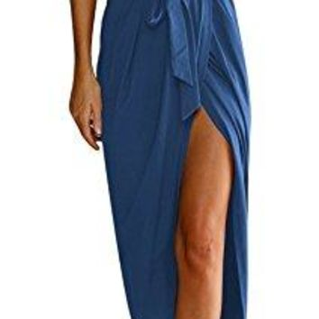 TBONTB Womens Casual Maxi Dress with Short Sleeve Solid Slit Long Dress