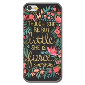 "Though She Be But Little She is Fierce"" Shakespeare Colorful Floral Flowers Painted Rigid Plastic Hard Phone Protector Cover Case Shell for iPhone 6 Plus 6s Plus"