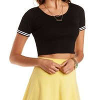 Striped Cuff Short Sleeve Crop Top by Charlotte Russe