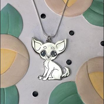 Chihuahua Large Metal Charm Necklace