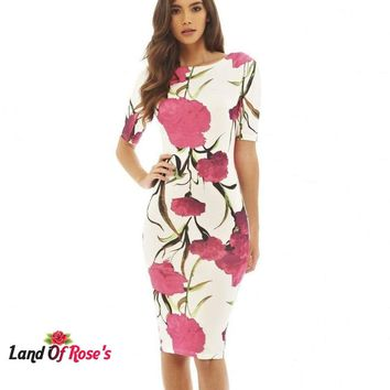 Casual Dresses Party O-Neck Summer Vestidos Sheath 28 Floral Print