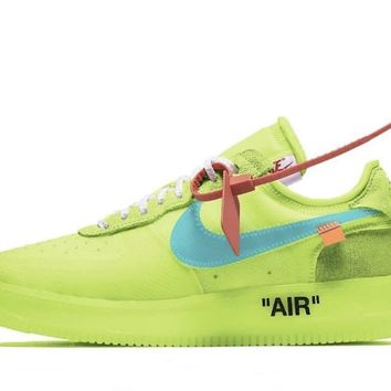 BC AUGUAU Nike Off-White Virgil Abloh Air Force 1 Low Volt Cone Black Hyper Jade A04606-700 2018