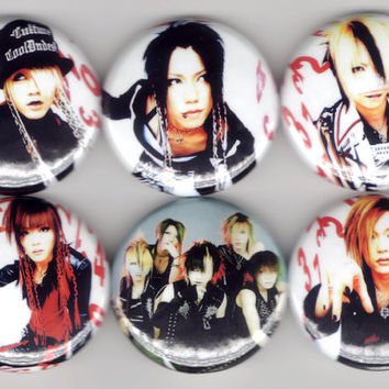 the GazettE - Set of 6 - Ruki Reita Kai Uruha Aoi JRock Buttons Pins Badges Pinback