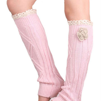 Retro Pink Lace Floral Decorated Knitted Leg Warmers