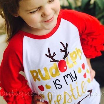 """RUDOLPH IS MY BESTIE"" CHILDREN'S- Only 1 Size 7 Left!"