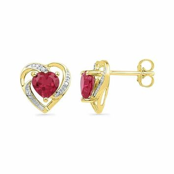 10kt Yellow Gold Women's Round Lab-Created Ruby Heart Love Earrings 3-8 Cttw - FREE Shipping (USA/CAN)