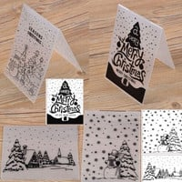 Mold Folding Transparent Christmas Cards Embossing Plastic Folder Scrapbook DIY