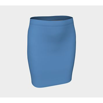 Solid Fitted Skirt - Blue