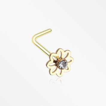 Golden Daisy Breeze Sparkle L-Shaped Nose Ring
