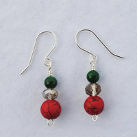 Christmas earrings; red and green bead earrings; holiday earrings; red stone earrings; CIJ2016;